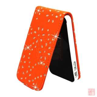 Orange Bling Diamond PU Leather Flip Case Cover Pouch for iPhone 4S 4
