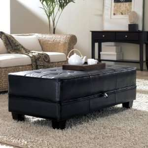 Riverside Saxon Faux Leather Large Cocktail Storage Ottoman Coffee