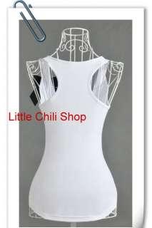 Shop NANA Gothic Punk Eyes Print BOW Vest Top White Sleeveless