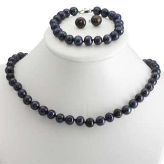 Genuine 8 9mm Freshwater Cultured Pearl Necklace Bracelet & Earrings