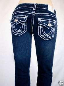 LA IDOL Dark Blue Jeans White Stitching Bootcut Sz 0 15