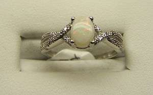 10K White Gold Oval Opal Diamond Ring Vintage Look NEW