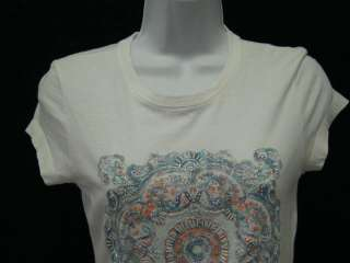 TWISTED HEART White Cotton T Shirt Embellished Top S