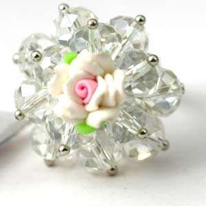 d8079 White Flower rondelle Crystal Beads Adjust Cooktail Ring Fashion