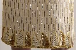 VINTAGE GOLD SEQUIN SKIRT Vtg 80s 20s Sheer Silk Metallic Bead Flapper