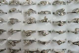 jewelry lots 30pcs white Rhinestone silver Plated Rings