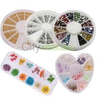 Wheel Mixed Nail Art Tips Rhinestone FIMO Decoration