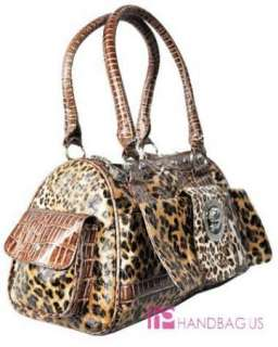NWT LEOPARD ANIMAL PRINT PURSE BAG HANDBAG TOTE BROWN