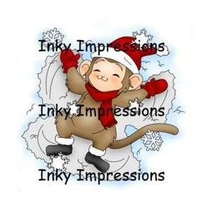 Cling Rubber Stamps Sammy Making Snow Angels: Arts, Crafts & Sewing