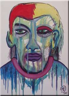 Original Abstract Face Portrait ART painting by RAEART 12x16 Modern