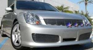 Infiniti G35 Sedan Front Bumper Aluminum Billet Grille Replacement 2pc