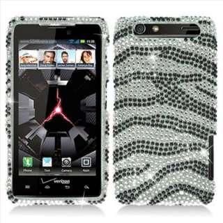 Motorola Droid RAZR XT912 Verizon Silver Zebra Bling Hard Case Cover