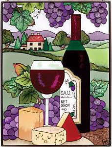 WINE & CHEESE VINEYARD GRAPES * 9x12 GLASS SUNCACHER |