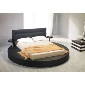 Vig Furniture Palazzo Queen Black Leatherette Round Platform Bed