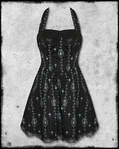 SPIN DOCTOR BLACK LYDIAN SKULL CAMEO GOTH MINI DRESS SZ