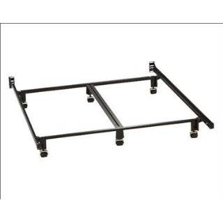 Size Metal Bed Frame With Double Rail Center Support & Wide Rug Rol