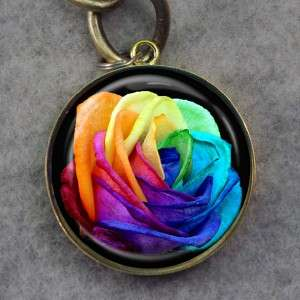 Tie Dyed Rose Glass Tile Bronze Key Chain A85
