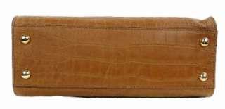 Kors Hamilton Leather East West Croco Satchel Handbag Purse Tan
