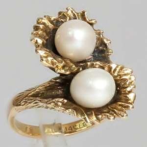 Vintage 14K Yellow Gold Irregular Shaped Twin Pearl Estate Ring SZ 6