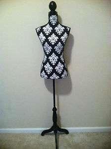 New Black & White Damask Body Dress Form Manequin Torso Display 4.5