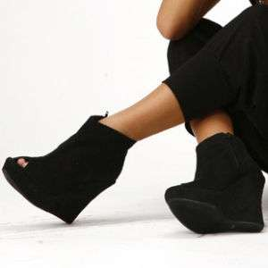 Hollywood* PU Suede Peep Toe Wedge Platform Ankle Boots
