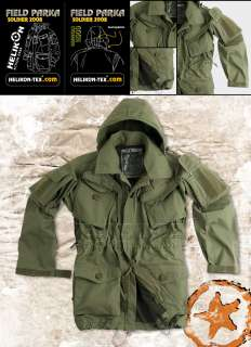 HELICON ARMY FIELD PARKA, WINDPROOF COMBAT JACKET/ SMOCK, OLIVE, SIZE