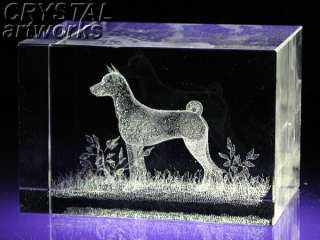 BASSENJI* 3D Laser Etched Crystal Dog Figurine D002s