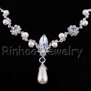 Rhinestone Acryl Crystal&Imitate Pearl Necklace&Earrings set