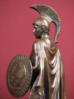 SIGNED BRONZE STATUE ROMAN GOD OF WAR WARRIOR MILITARY SCULPTURE ON