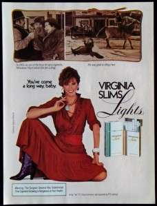 Vintage Magazine Print Ad Virginia Slims Lights