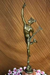 MUSEUM QUALITY FLYING MERCURY BY BOLOGNA BRONZE STATUE FIGURINE