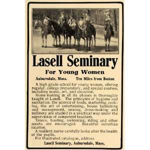 1909 Ad Lasell Seminary Girl College Auburndale Typhoid