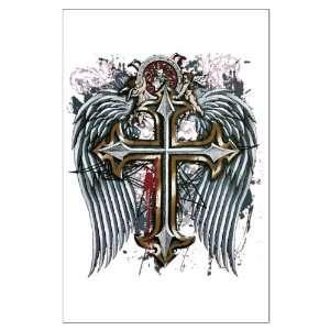 Large Poster Cross Angel Wings