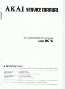 Akai RC15 Service Manual RC 15 RC 15 |