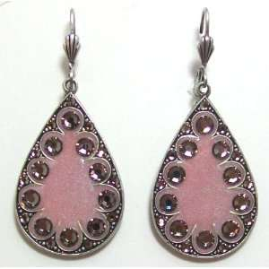 Anne Koplik Designs Sterling Silver Plated Pink Enamel Teardrop Dangle