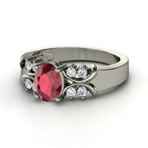 Gabrielle Ring, Oval Ruby 14K White Gold Ring with Diamond