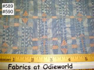 590 Quilters Only TREE PARTY Blue Peach cotton fabric
