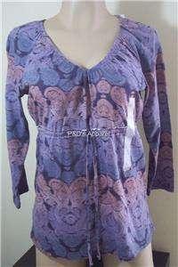 Womens Clothing Villager Purple 3/4 Sleeve Ladies Misses Shirt Knit