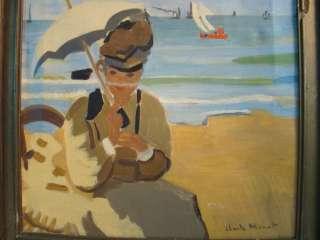 Vintage VICTORIAN Lady & PARASOL SeaSide OLD Claude Monet