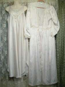 Long PEARLS & LACE SATIN Floral NIGHTGOWN & ROBE SET lot~M/L~