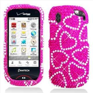 Pink Hearts Bling Hard Case Cover for Verizon Pantech Hotshot 8992