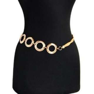 Stunning Gold Tone Rhinestone Chain Link Belt Clothing