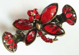VARY COLORS SWAROVSKI CRYSTAL BRONZE DRAGONFLY HAIR CLAW CLIP 327