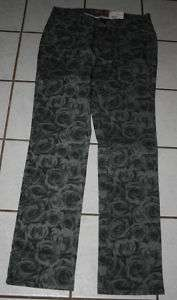 NWT $25 TOTAL GIRL Gray Rose Print Skinny Jeans ~Var Sz