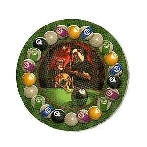 Dogs Play Pool Billiards Pool Set 4 Stone Coasters: