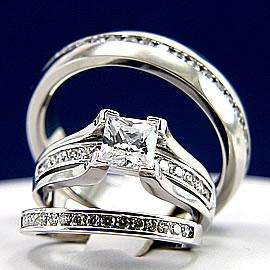 3pcs His Hers Engagement Wedding Bridal Band Ring Set Man and Woman