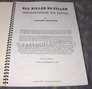ANGELIQUE HOUTKAMP Tattoo Flash Sketch Line Gun BOOK All Killer NO