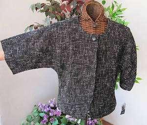Anne Klein BLK/WHT Tweed Jacket S 6 8 M Retail $209