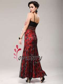 Close fitting Lace Layer Hot Sale Reds Black Bridesmaid Dress 09288