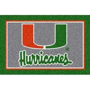 Miami Hurricanes 5 x 8 Team Door Mat: Sports & Outdoors